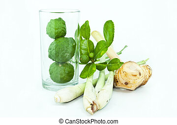 Thai food ingredient for Tom yum kung isolated in white backgroud ,galangal, lemongrass, bergamot
