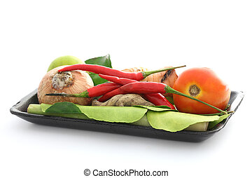 Thai food ingredient for Tom yum kung isolated in white backgroud