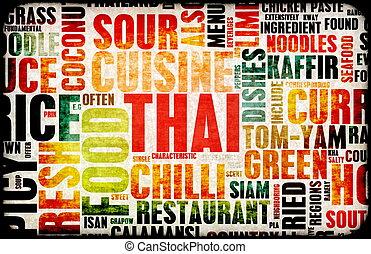 Thai Food Menu Art Background in Grunge