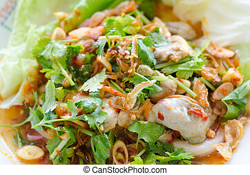 Thai food name oysters Spicy Salad