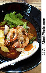 Thai food , Noodles in Sour and spicy shrimp soup (Tomyum ...