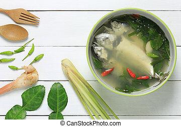 Thai Food of Tom Yum sea fish.