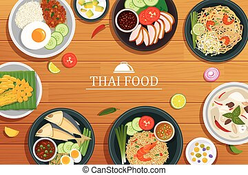thai food on a wooden background. Vector thai food top view