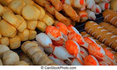 Thai food on street vendor counter. Thailand. Video 1080p