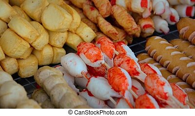 Thai food on street vendor counter. Thailand. Video 4k