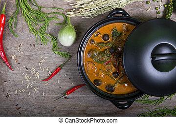 Thai food: Piper sarmentosum leaves Curry and mushrooms ...