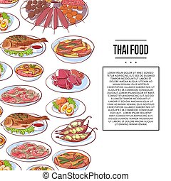 Thai food poster with asian cuisine dishes - Thai food...