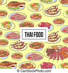 Thai food poster with asian cuisine dishes. Tom yam soup,...