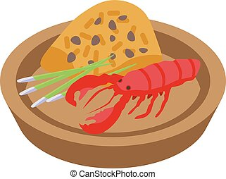 Thai food red cancer icon, isometric style