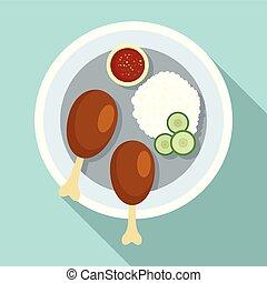 Thai food rice icon, flat style
