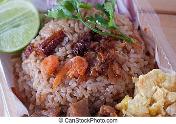 Thai food , Rice Mixed with Shrimp paste
