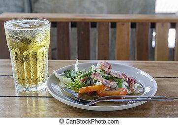 Thai food salad with beer