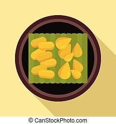 Thai food seeds icon, flat style