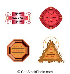 thai food spicy badge logo icons set