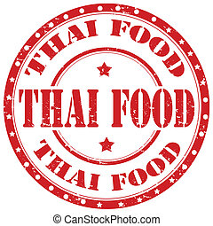 Thai Food-stamp - Grunge rubber stamp with text Thai...