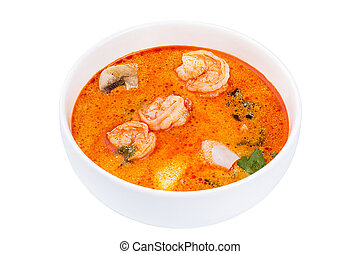 Thai Food Tom Yum Gong. Soup in a white bowl isolated on white background.