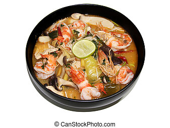 Thai food Tomyum shrimp with lemon and noodle stript on ...