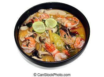 Thai food Tomyum shrimp with lemon - close up shrimp in ...