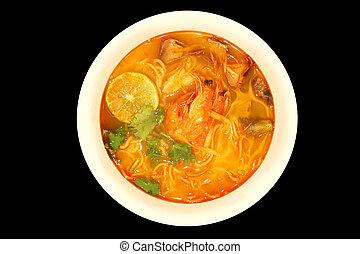 Thai food Tomyum shrimp with noodle - Thai food Tomyum ...