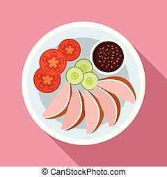 Thai food vegetables icon, flat style