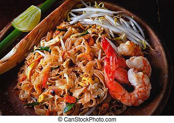 "Pad Thai - Thai Fried Noodles ""Pad Thai"" with shrimp and..."