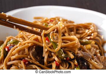 Thai fried rice noodles with shrimps - Image