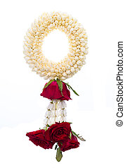 Thai garland colorful flower on white background