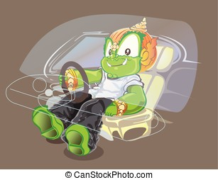 Thai giant driver action and smiling to selfie in car cartoon acting cute