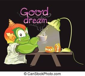 thai, gigant, plocka upp, mjölk, kopp, vilja, dricka, för, sömn, har, röka, bra, dröm