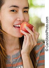 Thai Girl and apple