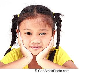 Thai girl on white background
