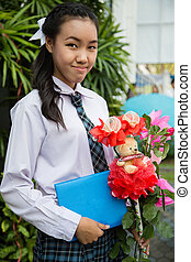 Thai girl student - Young beautiful thai girl student during...