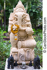 thai, godsdienstig cijfer, in, de, uiterlijk, van, een, elefant