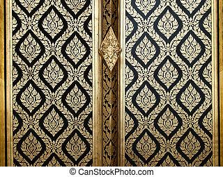 Thai gold art painting on wood door