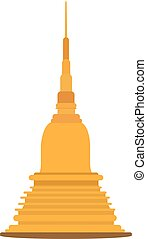 Thai golden pagoda building of buddhism vector illustration.Buddhism Pagoda Architecture Thai Style Shape