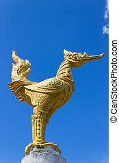 Thai Golden Swan All Body on Blue Sky Background