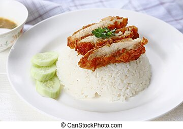 Thai gourmet fried chicken with rice