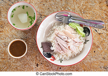 Thai gourmet steamed chicken with rice