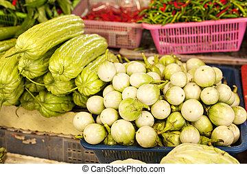 thai, grönsak, marknaden