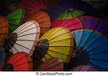 Thai Hand made color paper umbrellas.