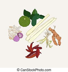Thai herb , ingredient spicy thai food collection, sketch...