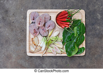 Thai herbs ingredient group for soup or Tom yum
