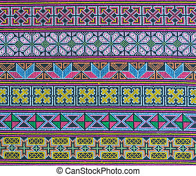 Thai hill tribe fabric with colorful embroidery