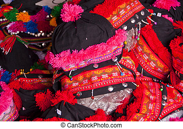 Thai hill tribe hat close up.
