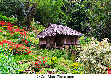 Thai hill-tribe style hut in Chiang Mai
