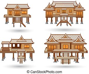 Thai house vector made from wood.