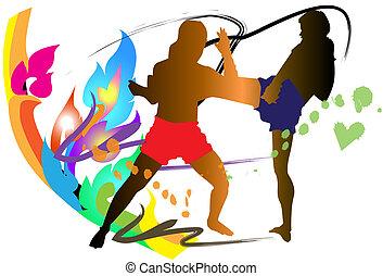 thai kickboxing - box, hit, men, art, kick, male, asia,...