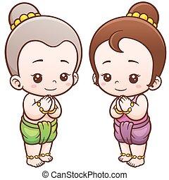 Vector illustration of Cartoon Thai kids, Sawasdee