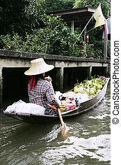 thai, kobieta, w, łódka