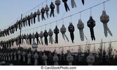 Thai Lanna lantern still in windy sky, stock video